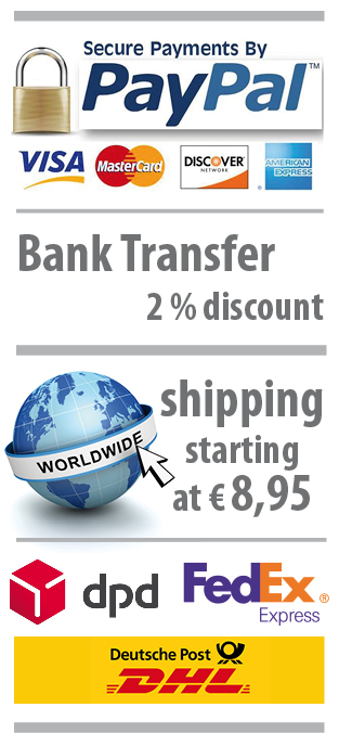 Payment with PayPal, creditcard, bank transfer. Shipping with dpd and FedExExpress