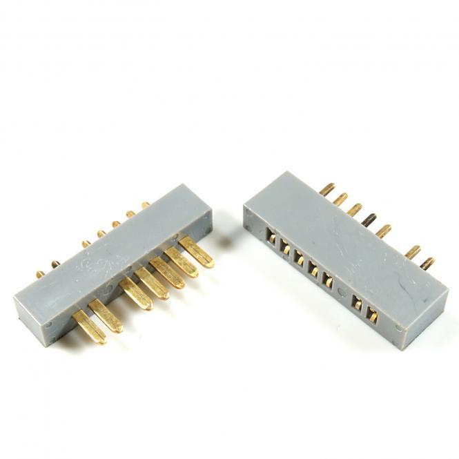 MPX Stecker mit Buchse 7-Pol GOLD grau, 5 Paar