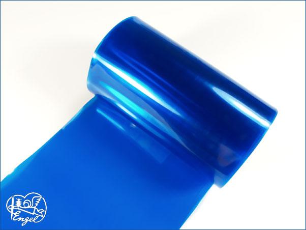 Schrumpfschlauch PVC 95mm transparent blau