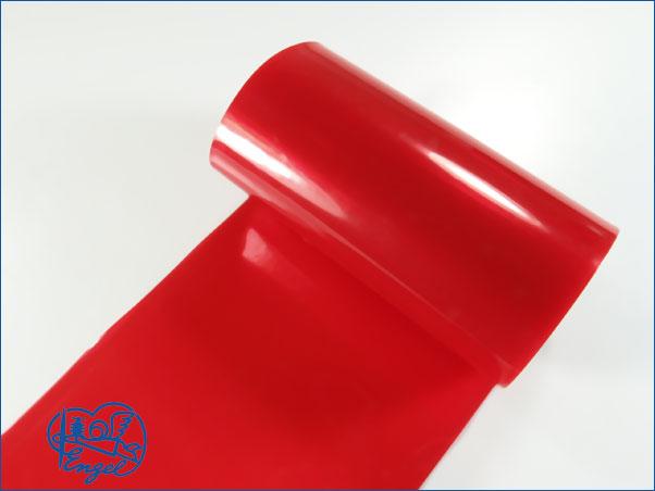 Schrumpfschlauch PVC 25mm transparent rot